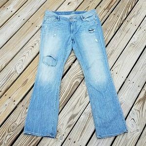 Loft Curvy Boot Destroyed Desstressed Jeans 16 33